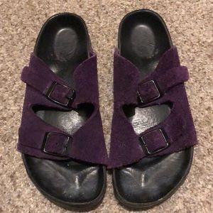 Purple Suede black bottom Birkenstock's